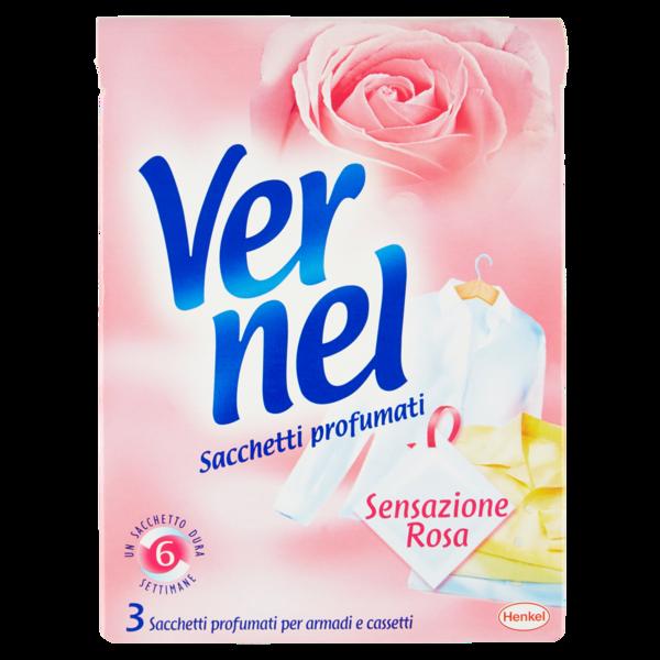 Vernel Sensazione Rosa 3 sacchetti profumati per armadi e